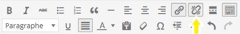 supprimer un lien hypertexte wordpress